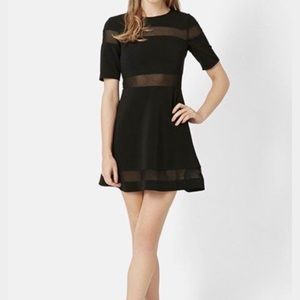 Topshop black skater a-line dress with mesh